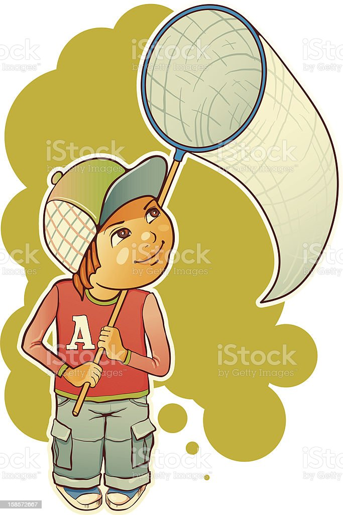 Boy with a butterfly net. royalty-free stock vector art