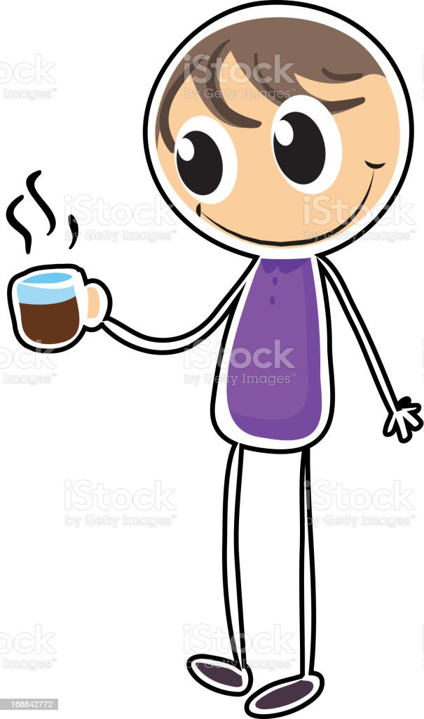 Boy with a cup of hot tea royalty-free stock vector art