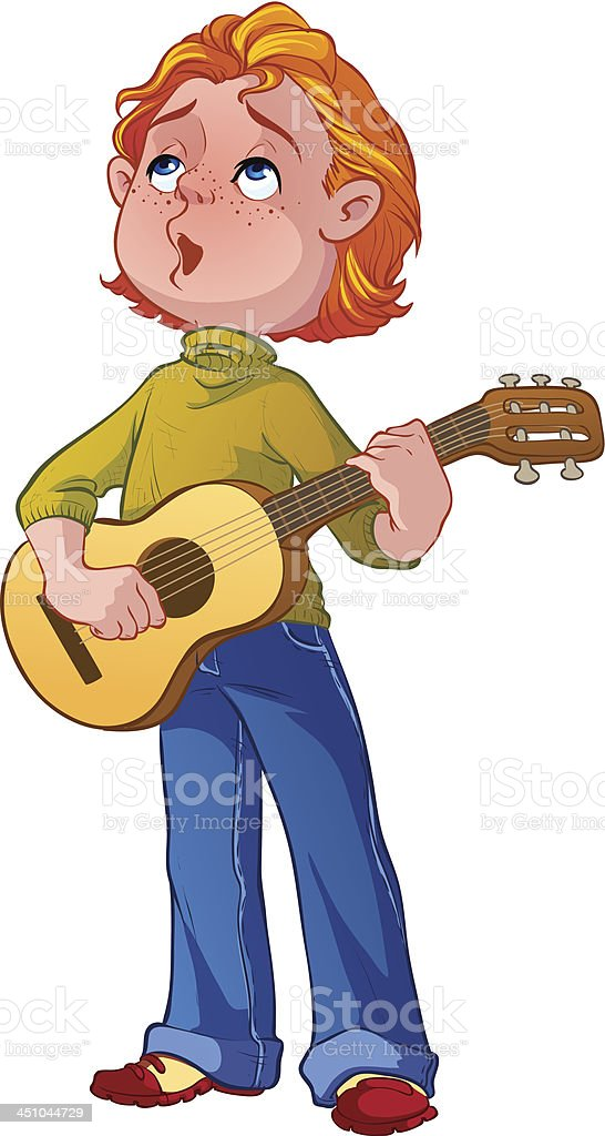 boy with a guitar vector art illustration