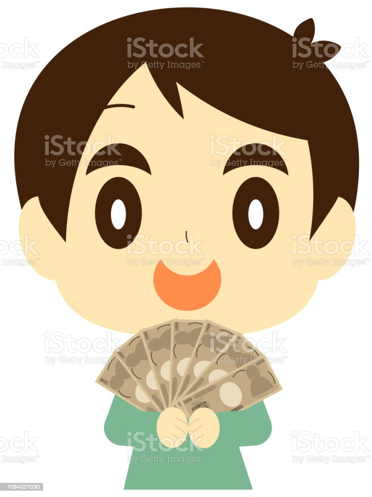 A boy with a lot of money vector art illustration