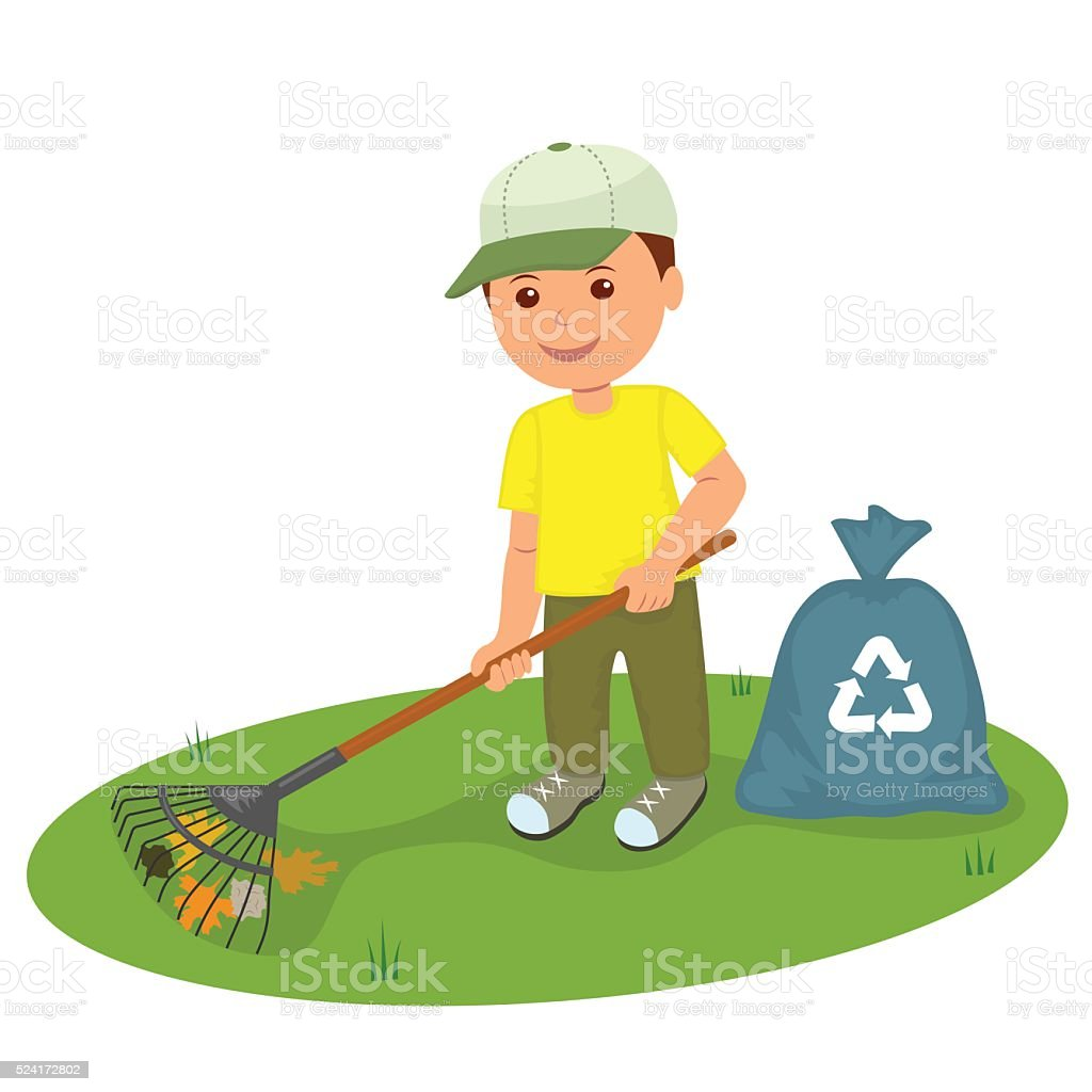 Boy with a rake the lawn clean from garbage stock vector for Calle el jardin