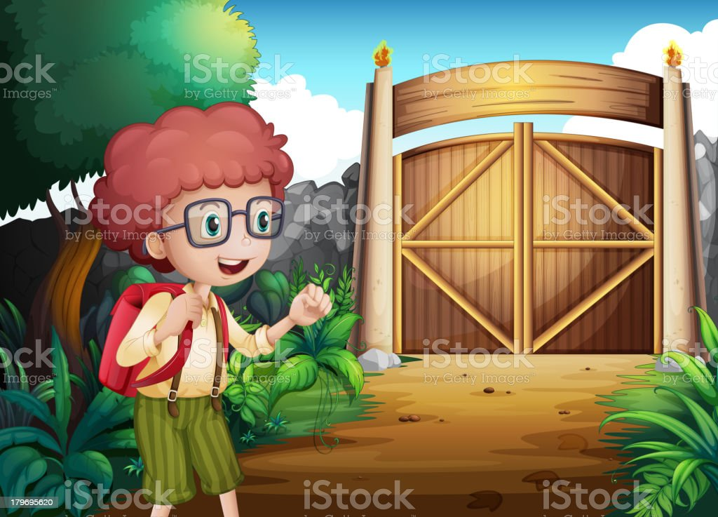 Boy with a red backpack inside the gated yard royalty-free stock vector art