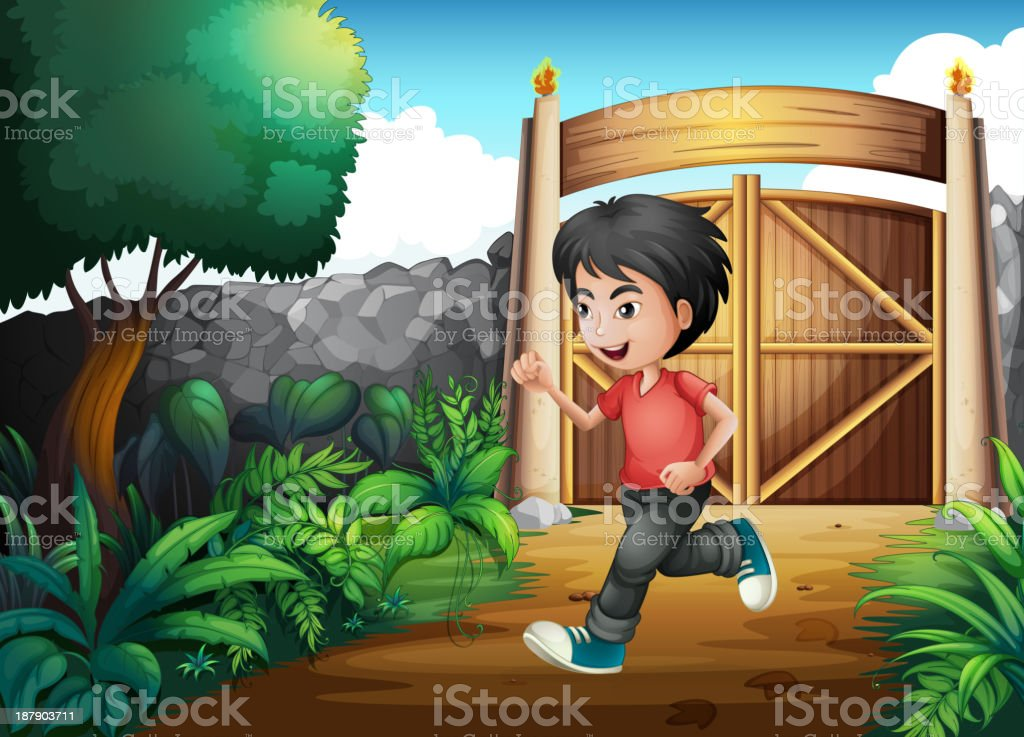 boy with a red shirt running inside the fence royalty-free stock vector art