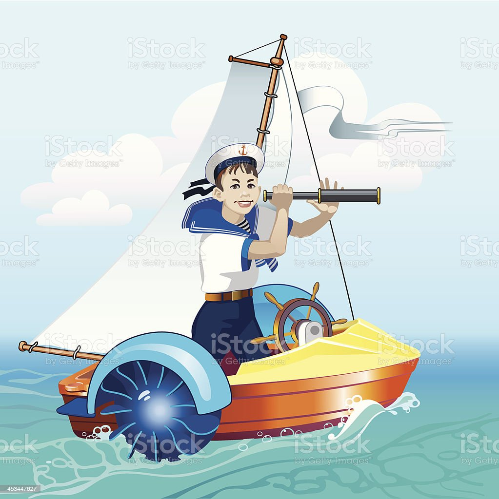 Boy with a telescope in the boat royalty-free stock vector art