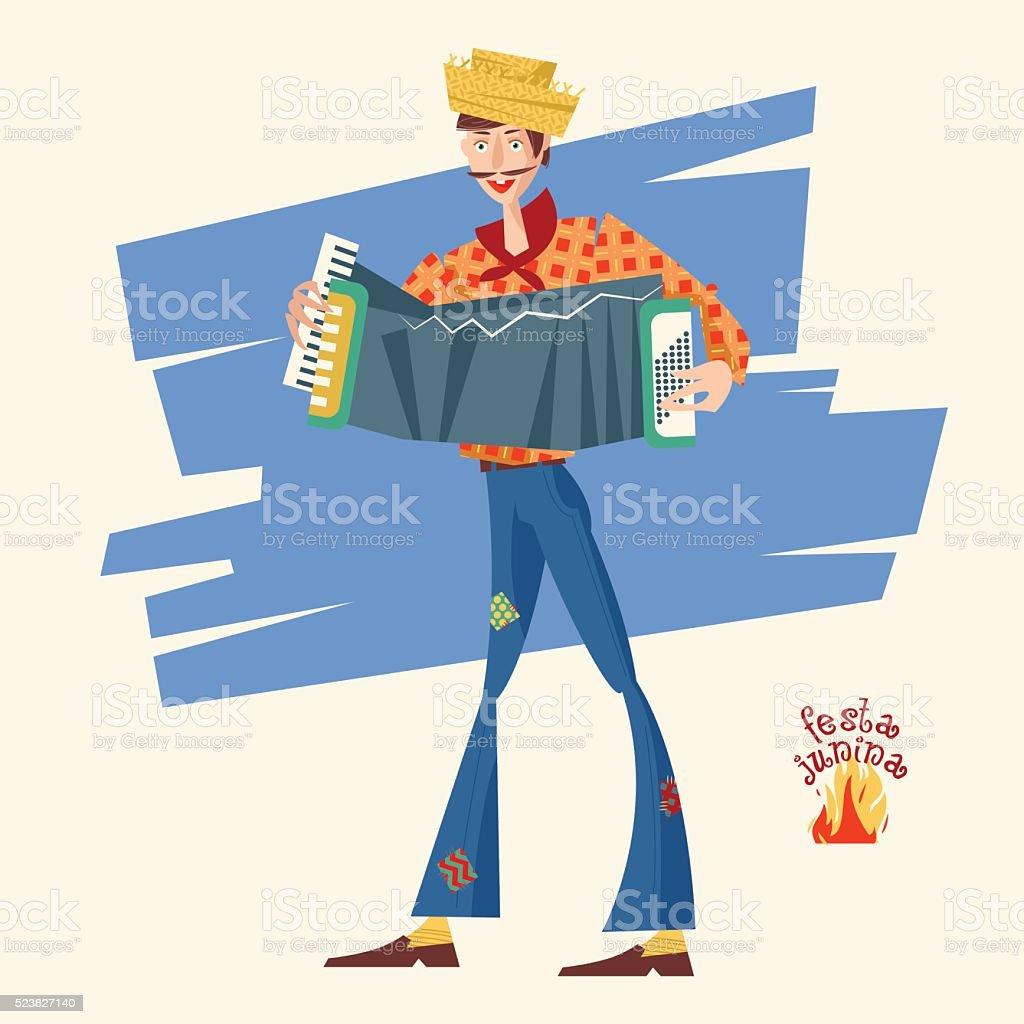 Boy with an accordion. Brazilian holiday Festa Junina vector art illustration