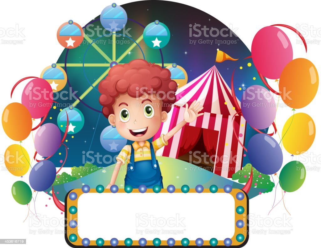 boy with an empty signage in front of a carnival royalty-free boy with an empty signage in front of a carnival stock vector art & more images of adult