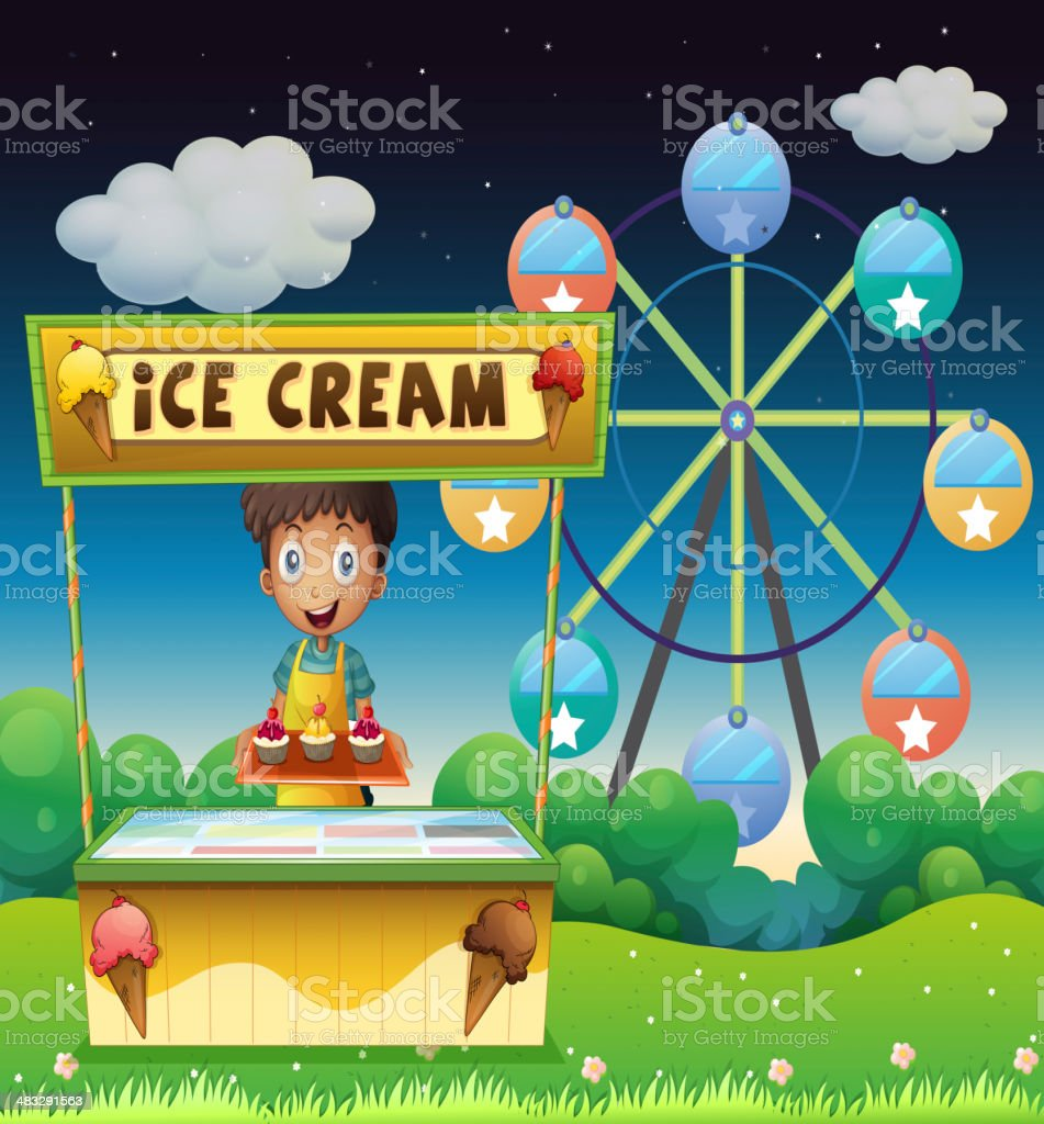 Boy with an icecream stall near the ferris wheel royalty-free stock vector art