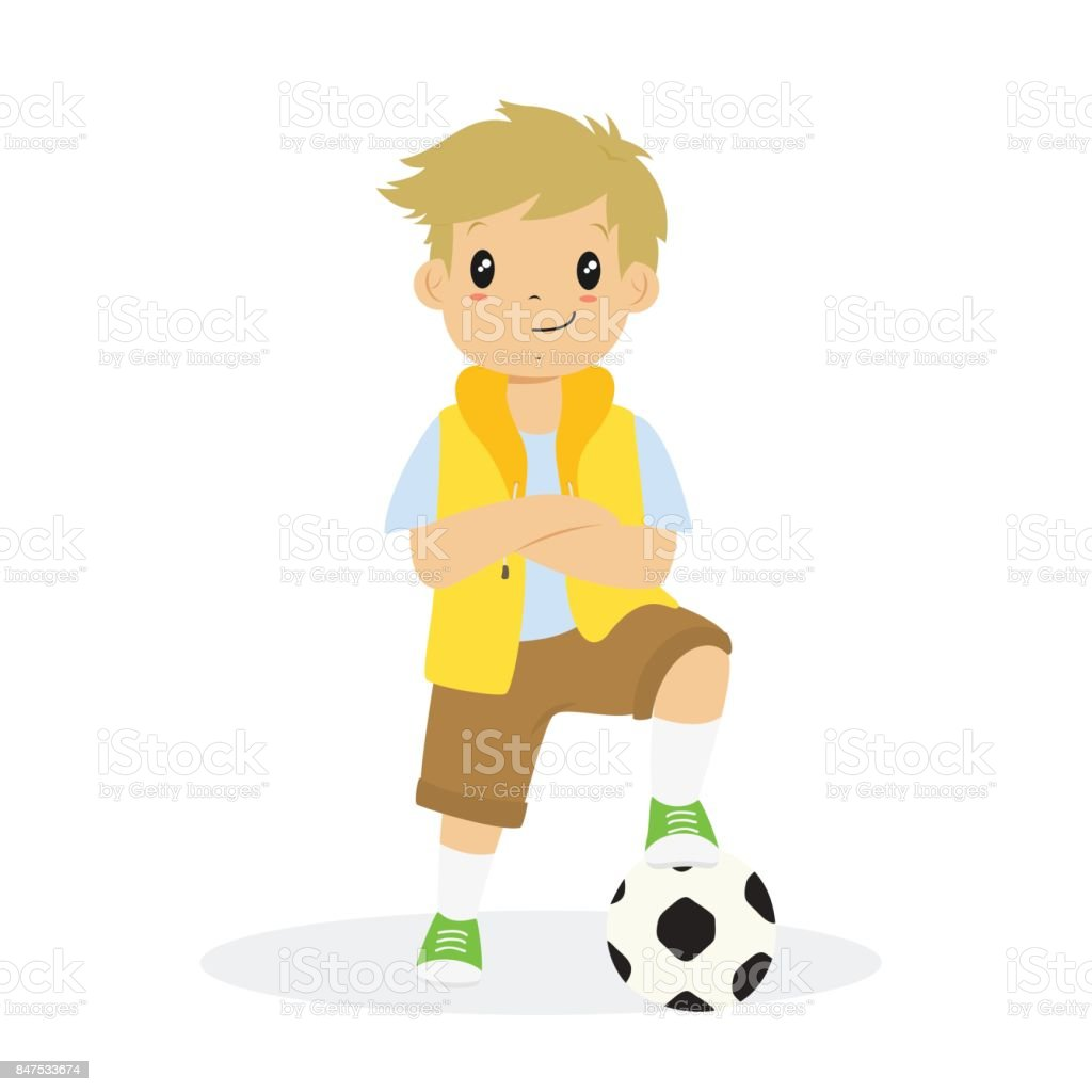 Boy With Arms Crossed and a Soccer Ball Cartoon Vector vector art illustration