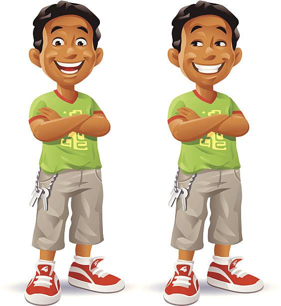 Niño con brazos cruzados - ilustración de arte vectorial