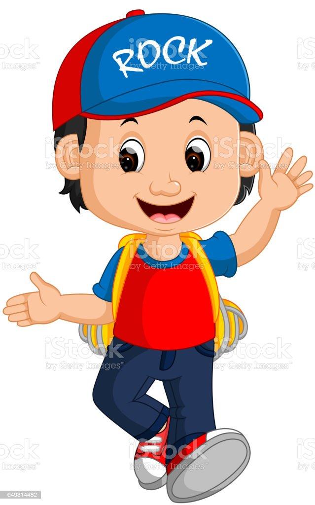 Boy with backpacks cartoon vector art illustration