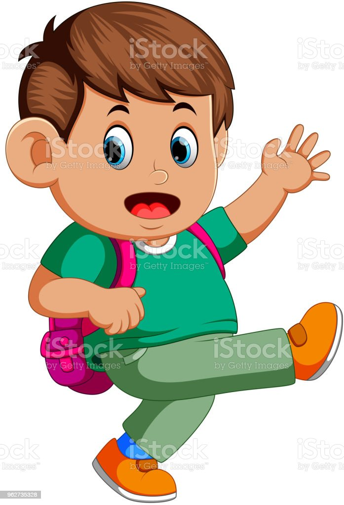 Boy with backpacks vector art illustration