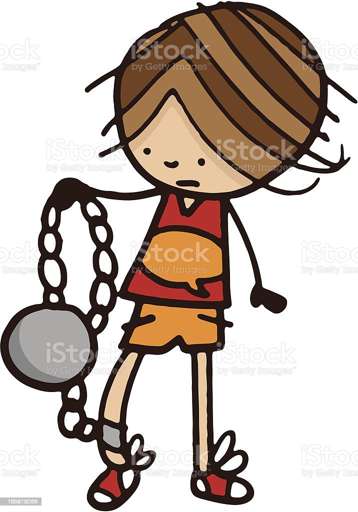 Boy with ball and chain royalty-free stock vector art