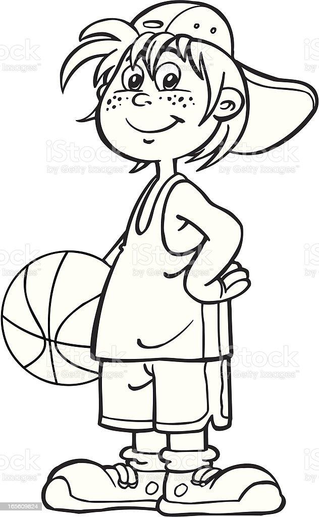 Boy with ball vector art illustration