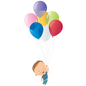 Vector boy with balloons