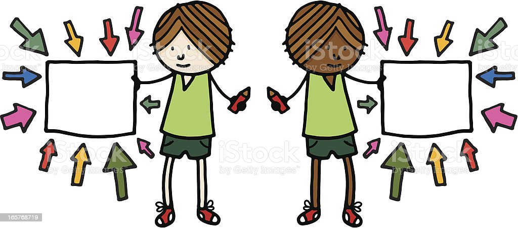 Boy with blank sign and arrows pointing at it royalty-free boy with blank sign and arrows pointing at it stock vector art & more images of african ethnicity