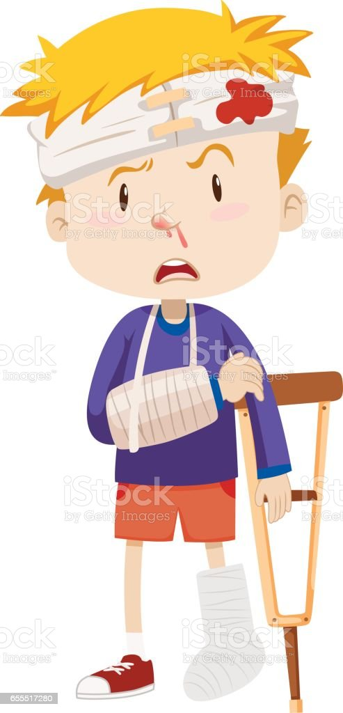 Boy with broken leg and arm vector art illustration