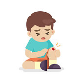 Boy with bruises on his leg, knee pain, vector illustration.