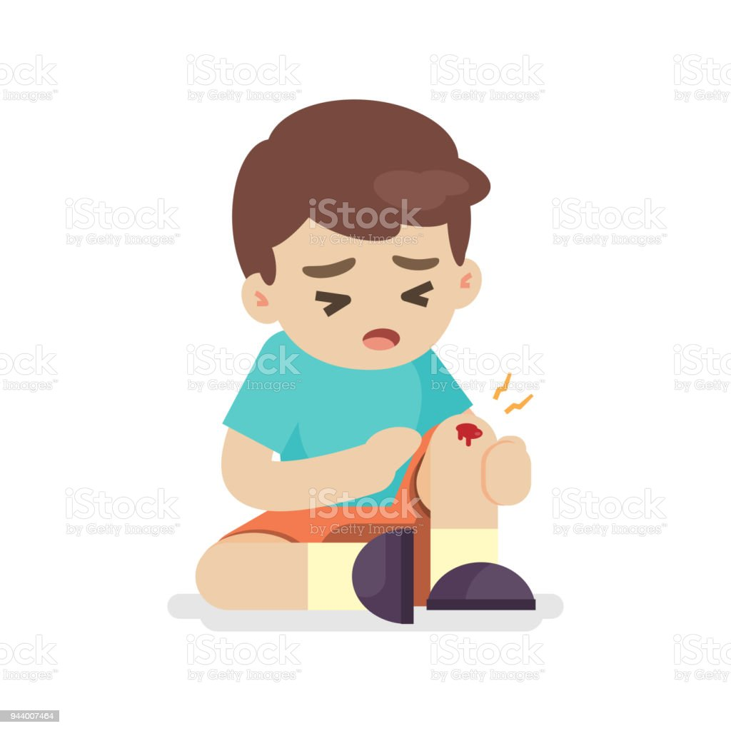 Boy with bruises on his leg, knee pain, vector illustration. vector art illustration