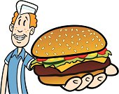 Great illustration of a teen holding a burger. Perfect for a diner or a menu illustration. EPS and JPEG files included. Be sure to view my other illustrations, thanks!
