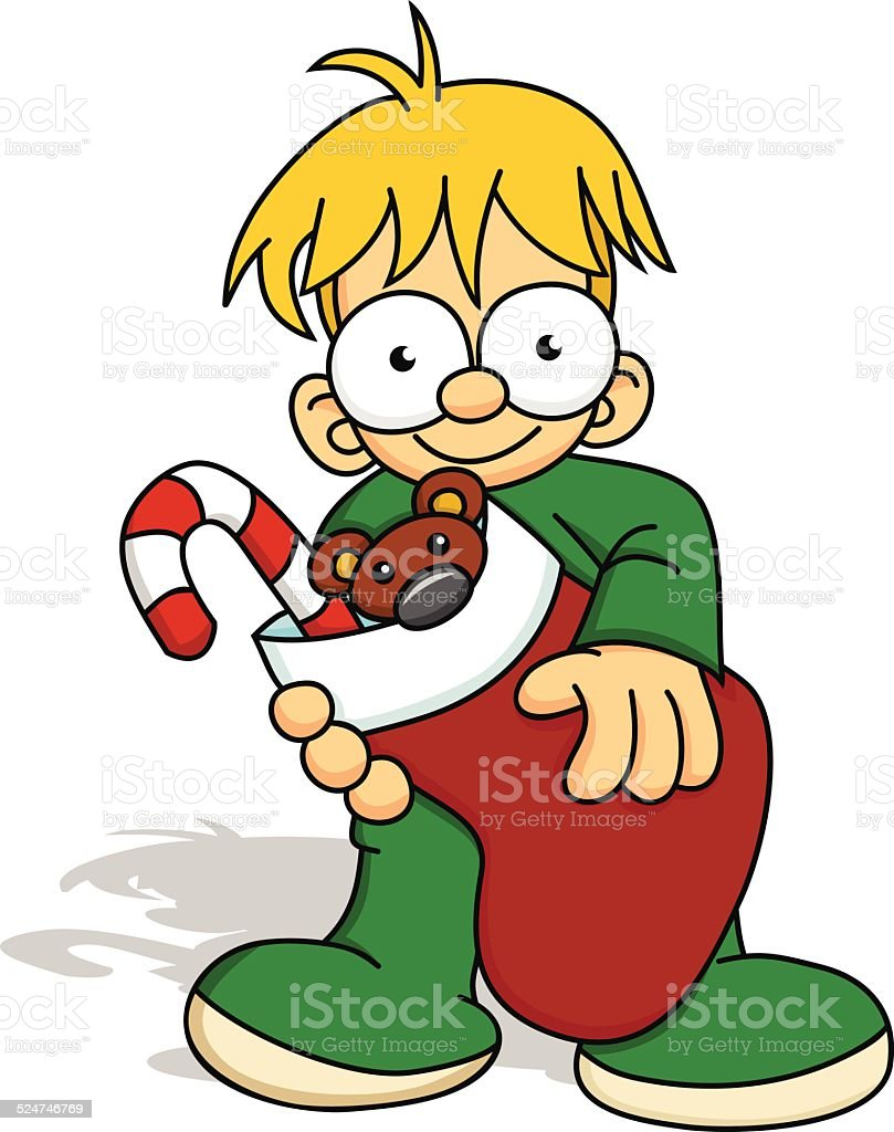 Boy with Christmas Stocking royalty-free boy with christmas stocking stock vector art & more images of boys