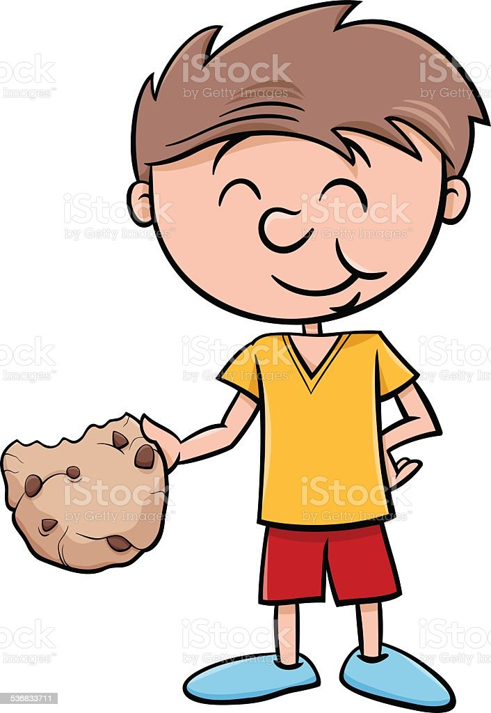 boy with cookie cartoon vector art illustration