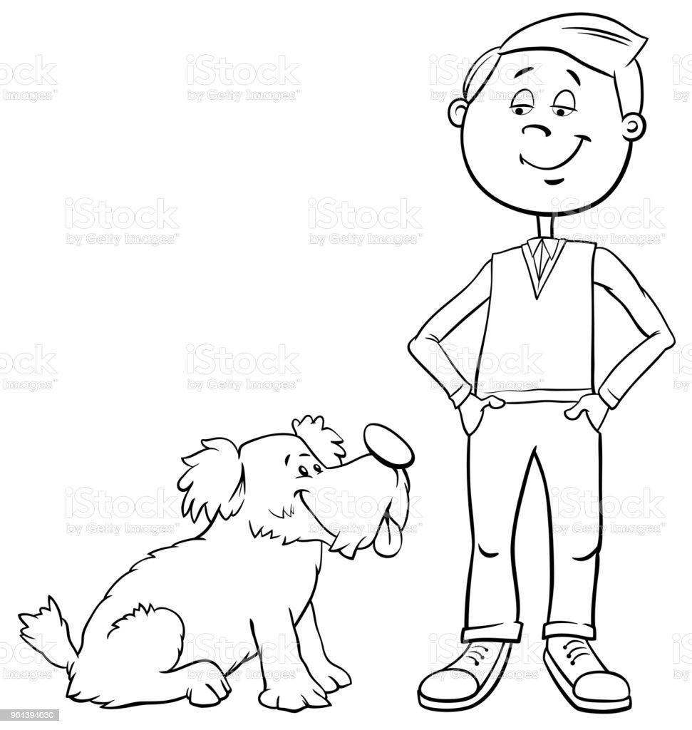 Ilustración de Muchacho Con Perro Lindo De Dibujos Animados Para ...