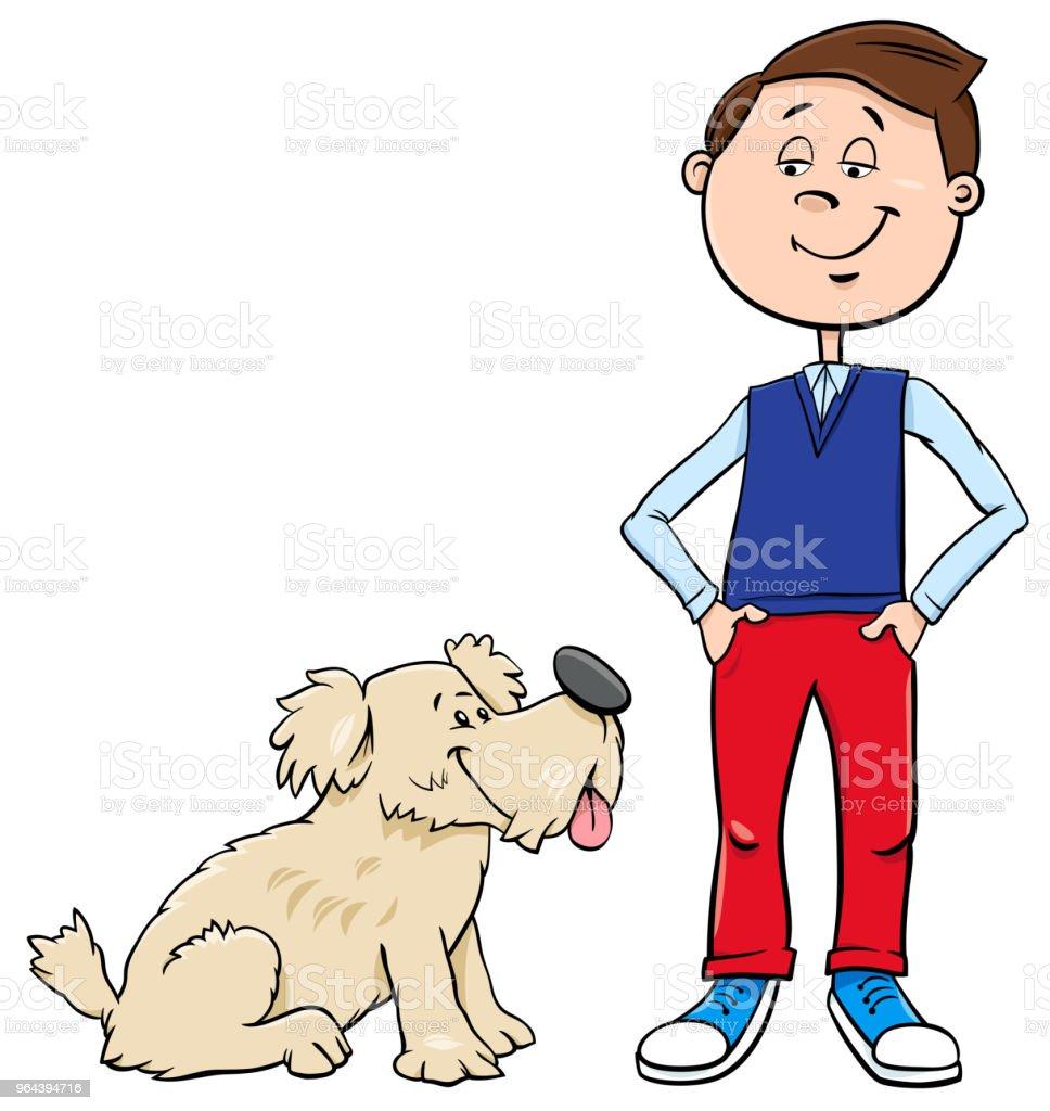 menino com ilustração de cão bonito dos desenhos animados - Vetor de Adolescente royalty-free