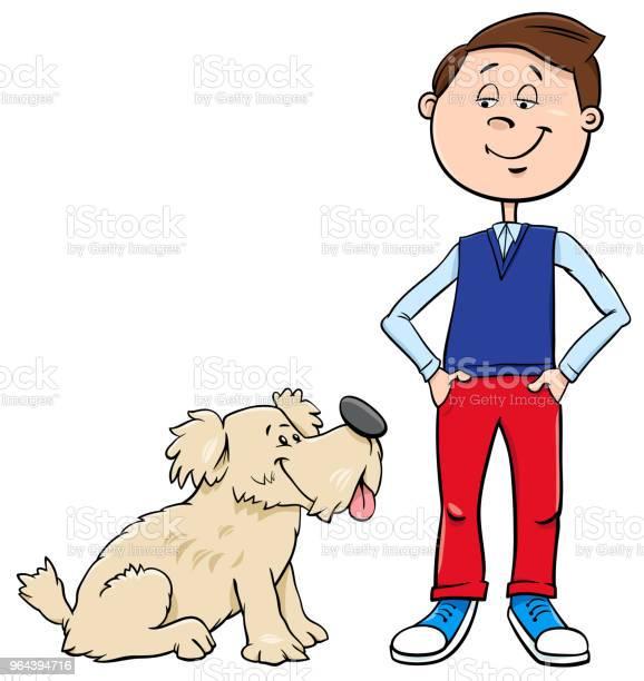 Vetores de Menino Com Ilustração De Cão Bonito Dos Desenhos Animados e mais imagens de Adolescente