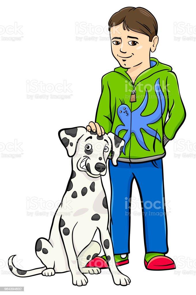 menino com ilustração de desenhos animados de cachorro dalamtian - Vetor de Amizade royalty-free