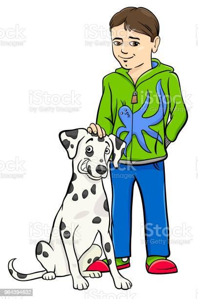 Vetores de Menino Com Ilustração De Desenhos Animados De Cachorro Dalamtian e mais imagens de Amizade
