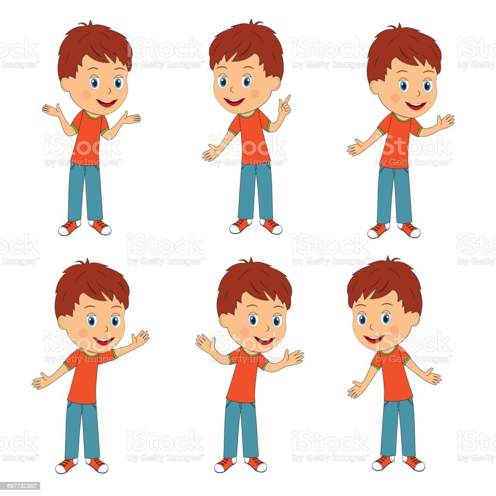 boy with different hand position stock vector art & more images of