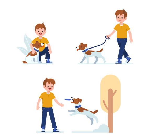 ilustrações, clipart, desenhos animados e ícones de menino com cão - brincadeira