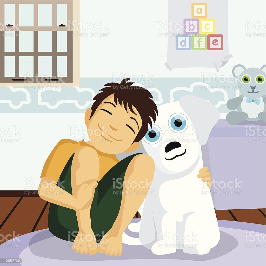 Boy with dog. royalty-free stock vector art