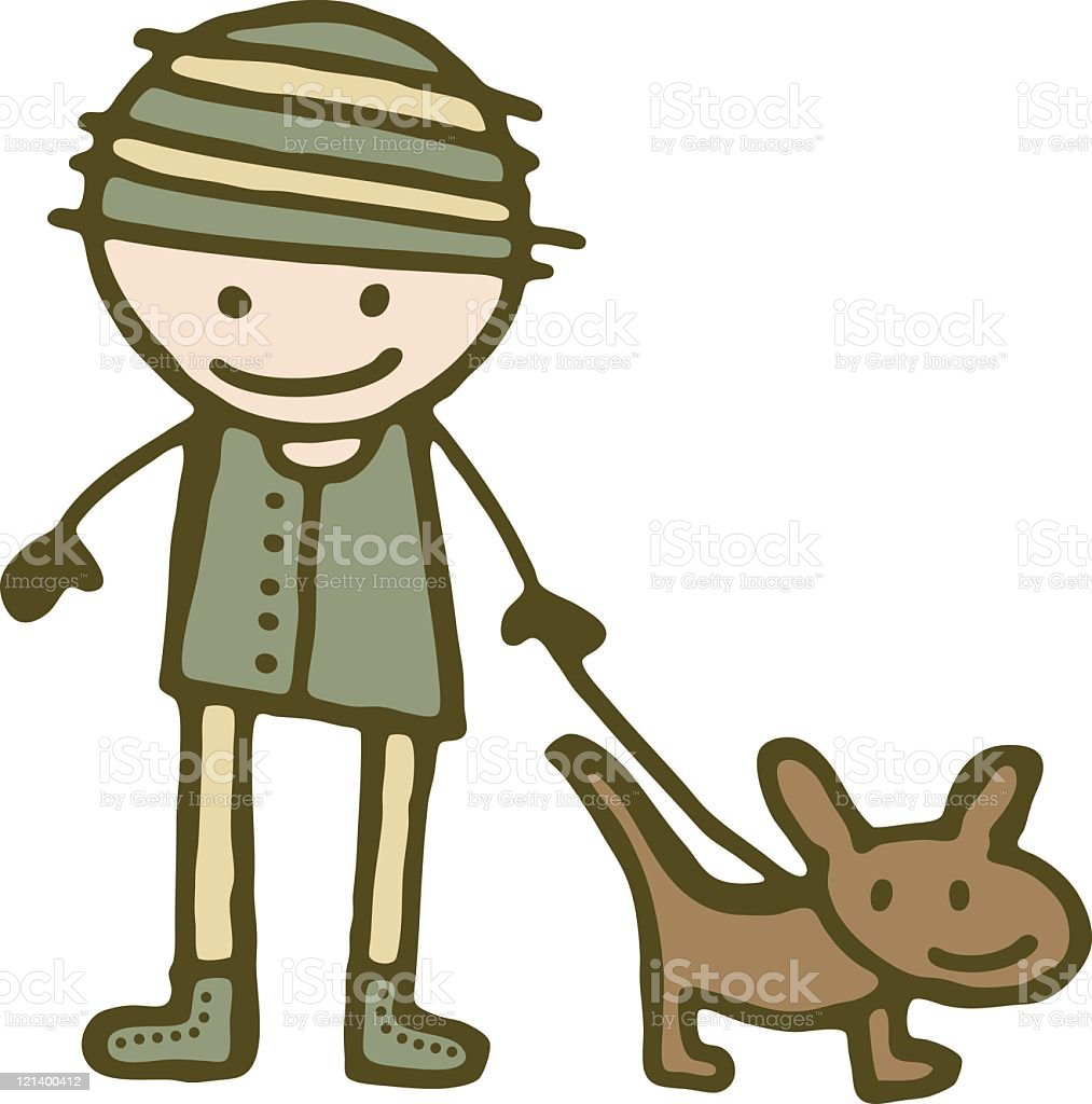 Boy with Dog royalty-free stock vector art
