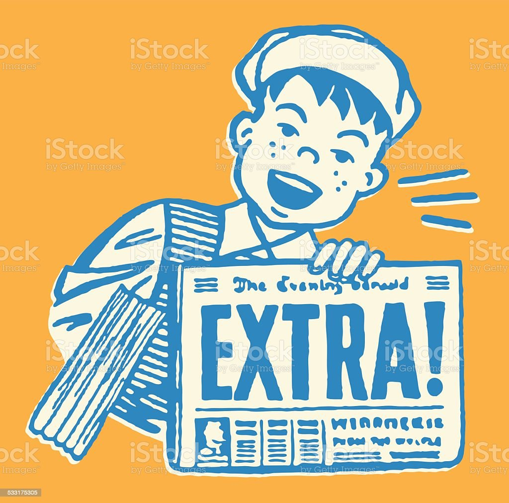 Boy with Extra Version of Newspaper vector art illustration