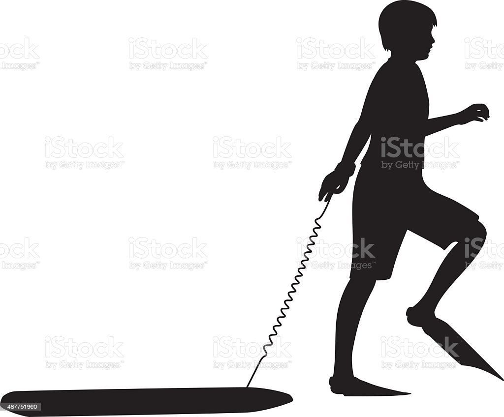 Boy with Flippers and Boogie Board Silhouette vector art illustration