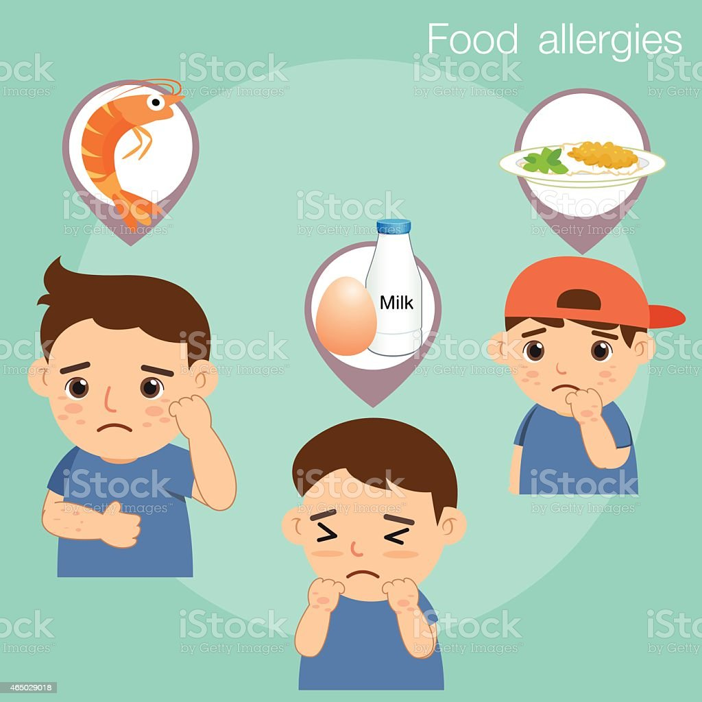 Boy with food allergies vector art illustration