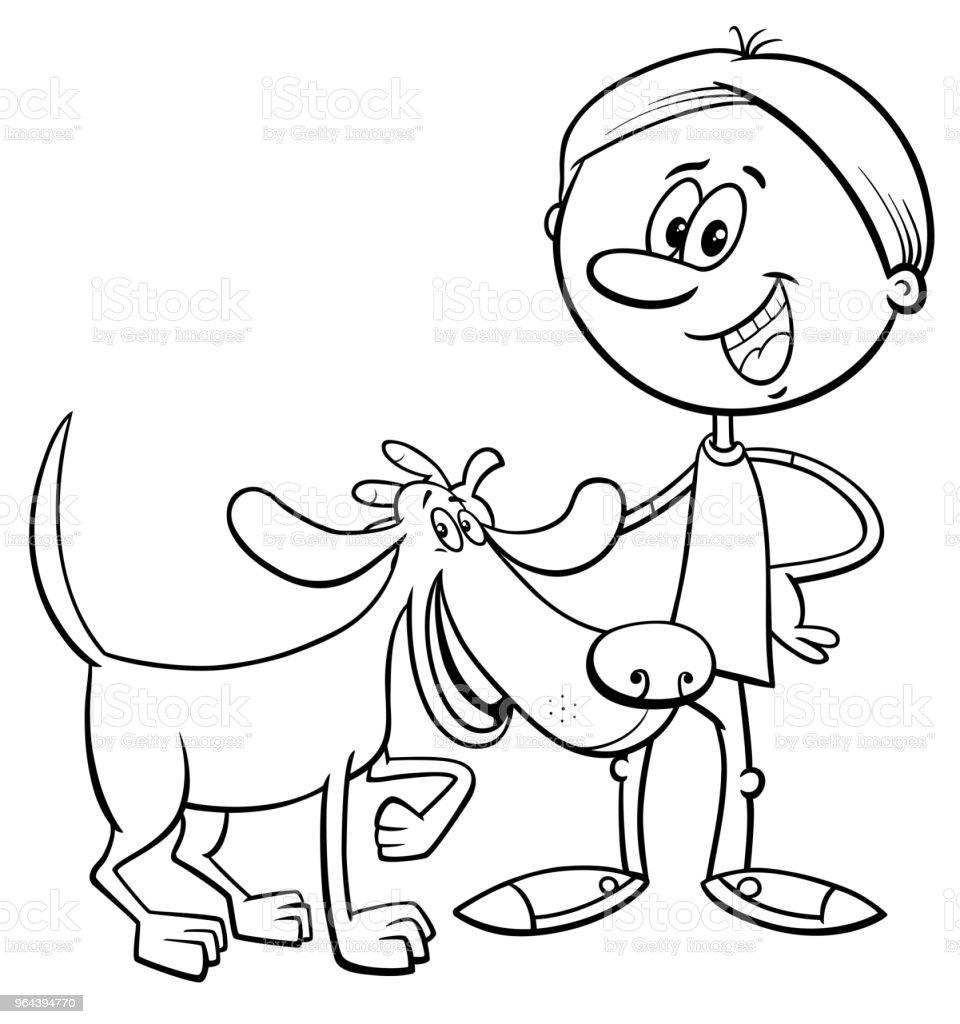 Ilustración de Muchacho Con Perro Divertido De Dibujos Animados Para ...