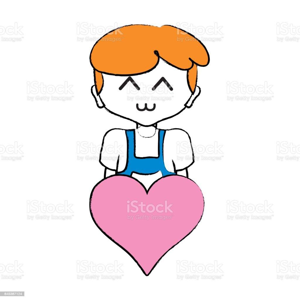 Ilustración de Niño Con Peinado Y Corazón El Icono y más banco de ...