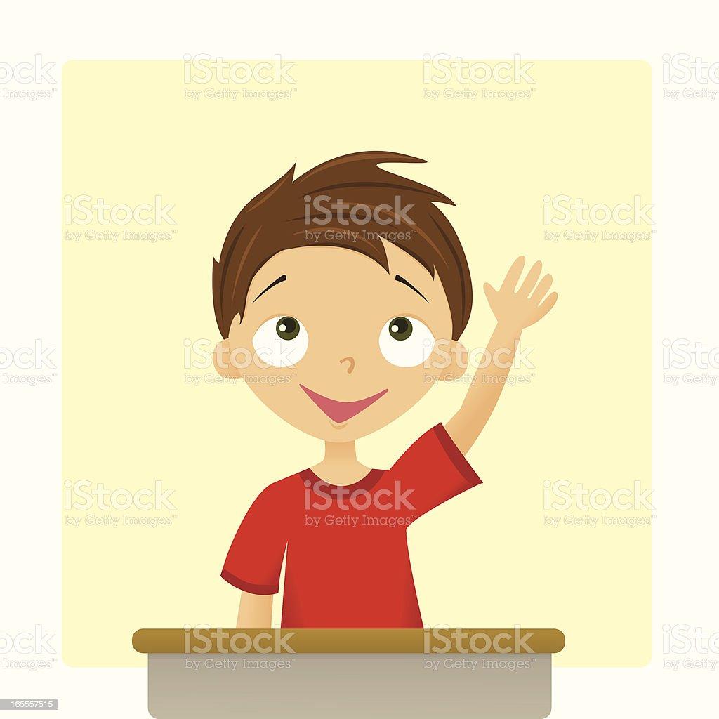 Boy with Hand Raised vector art illustration