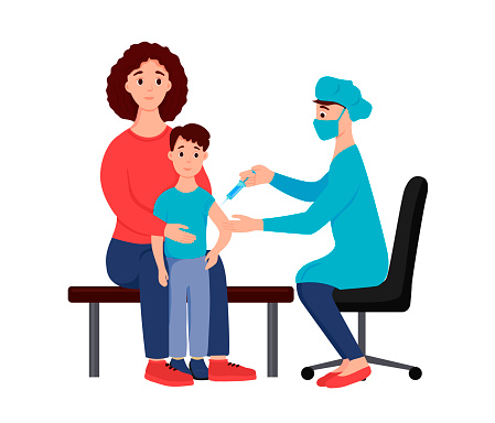 A boy with his mother at a doctor's appointment is vaccinated. The doctor makes a syringe injection. The vaccine - vector illustration on white background.