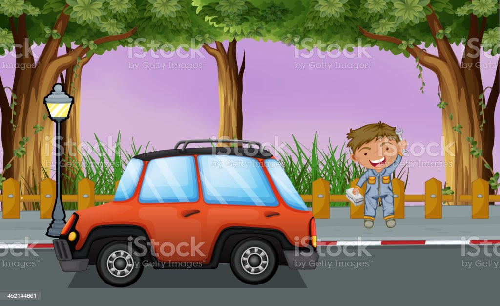 Boy with his tools near the orange vehicle royalty-free boy with his tools near the orange vehicle stock vector art & more images of adult