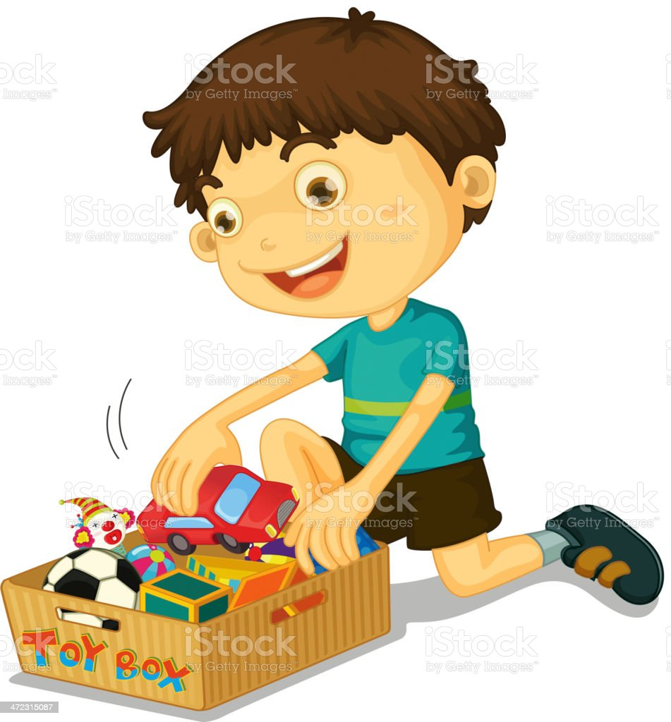 Boy with his toys vector art illustration