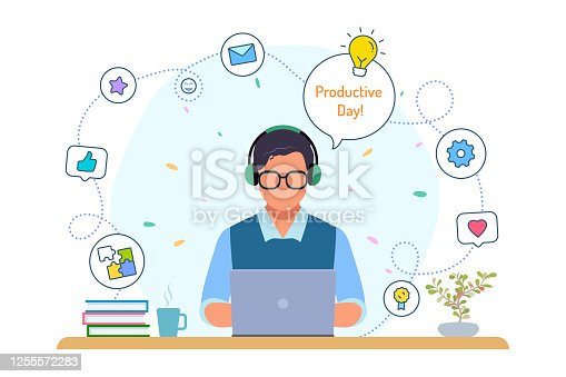 Boy with laptop, happy man, well being, businessman, creative people, working at home, office workplace, study, social network, lifestyle, background