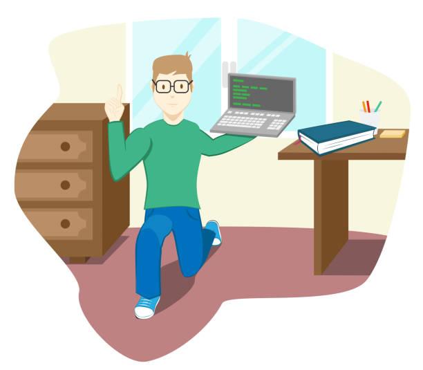 Boy with laptop vector art illustration