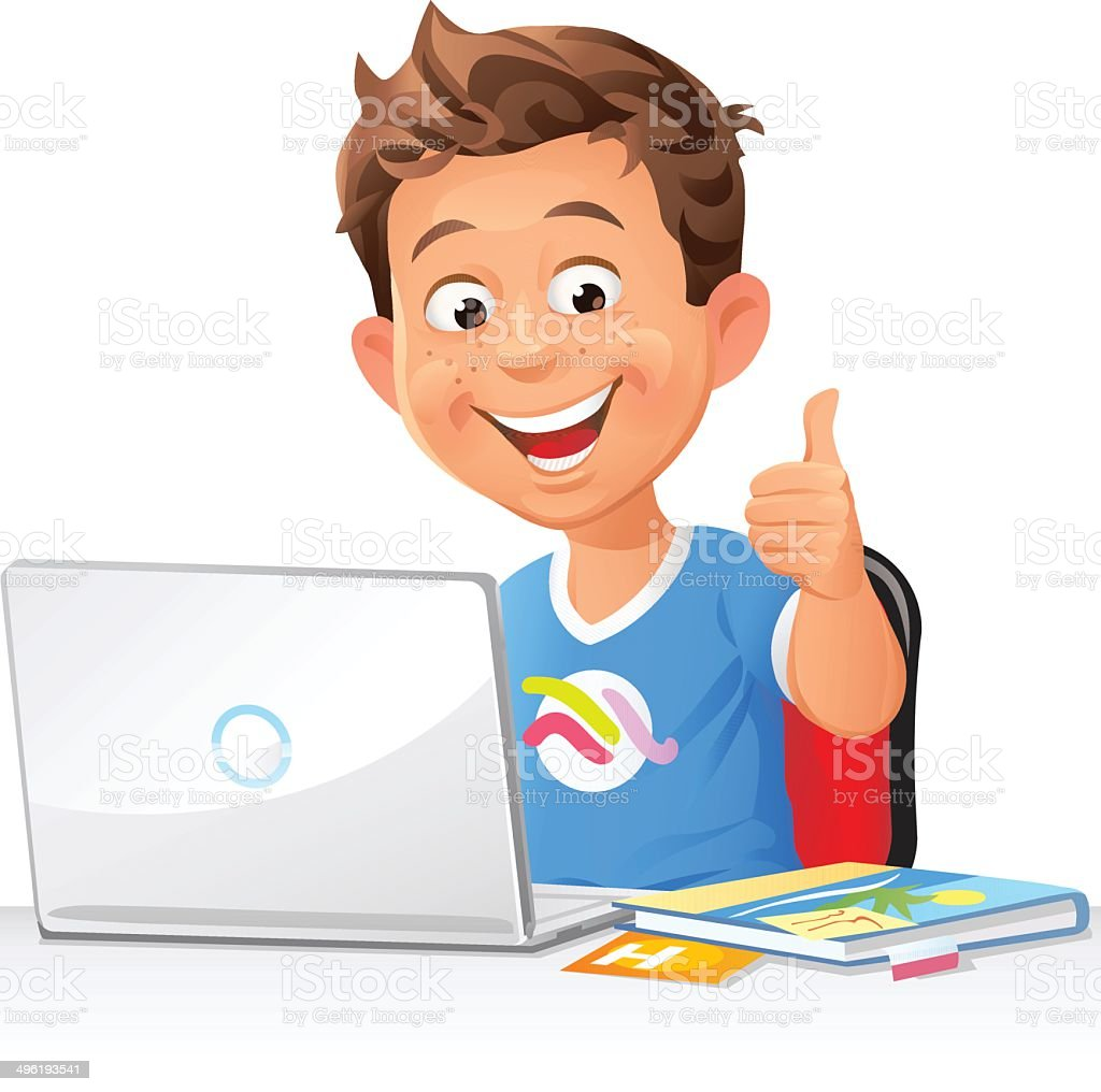 Boy With Laptop vector art illustration