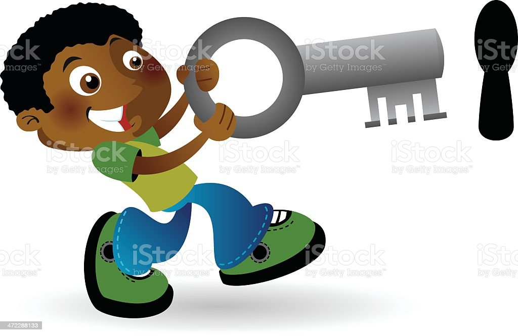 Boy with large key vector art illustration