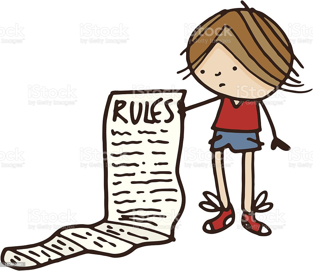 Boy with list of rules royalty-free stock vector art