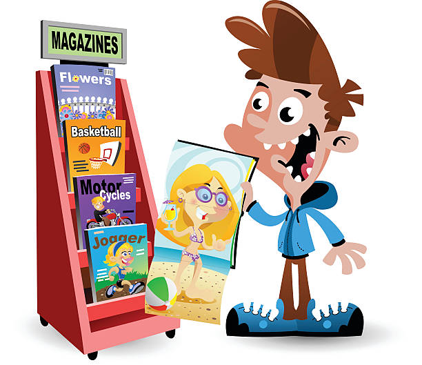 Boy with magazine vector art illustration