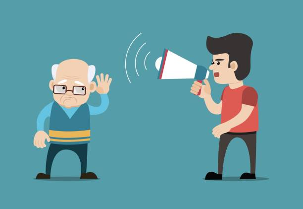 boy with megaphone and hard of hearing old man. concept for hearing loss. - old man crying stock illustrations, clip art, cartoons, & icons